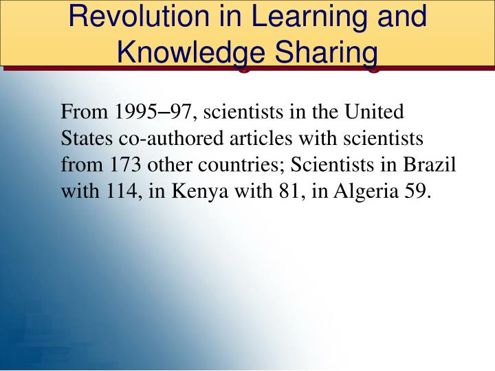 Revolution in Learning and Knowledge Sharing