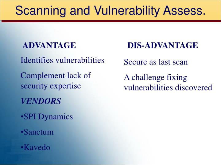 Scanning and Vulnerability Assess.