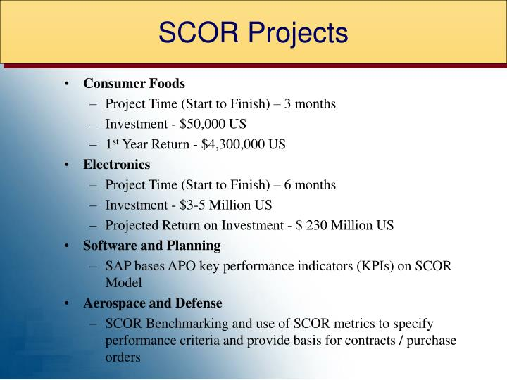 SCOR Projects