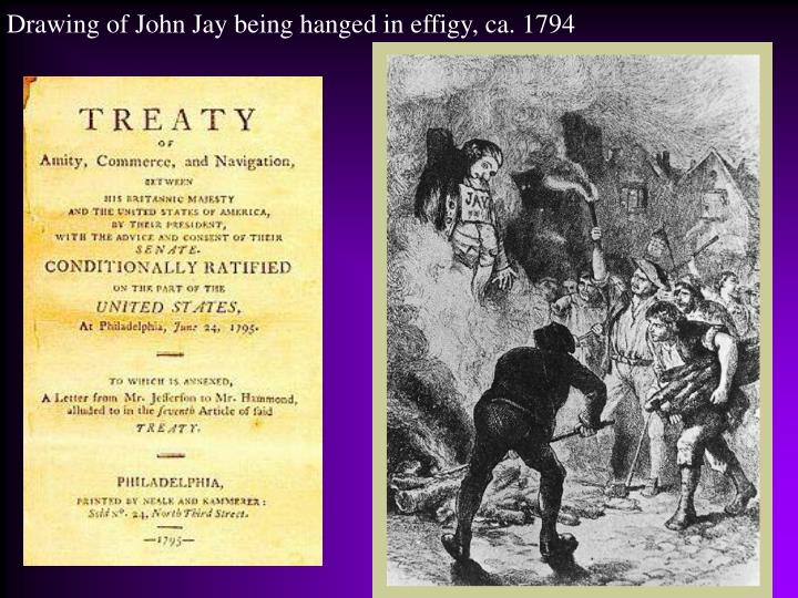 Drawing of John Jay being hanged in effigy, ca. 1794