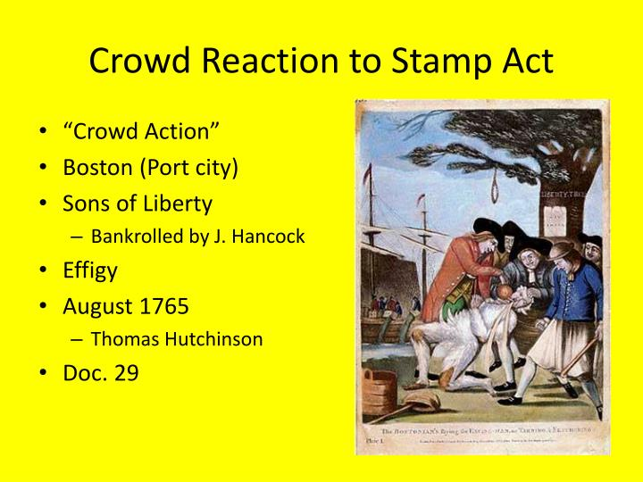 Crowd Reaction to Stamp Act