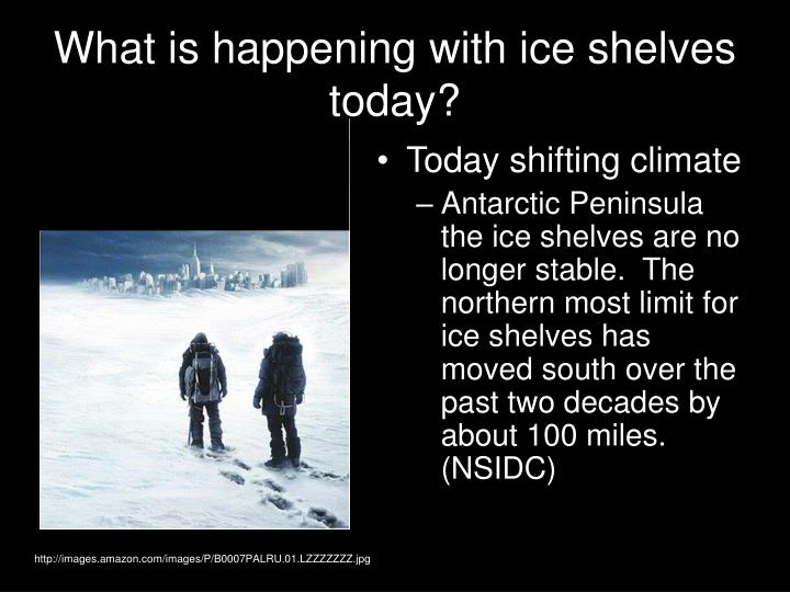 What is happening with ice shelves today?