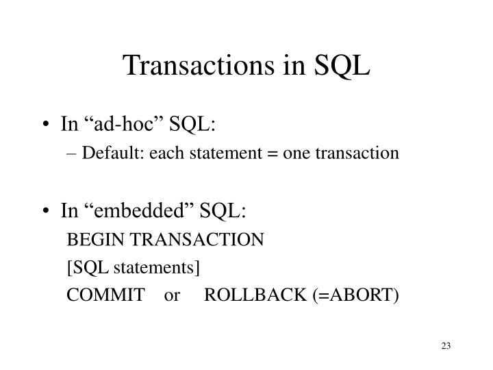 Transactions in SQL