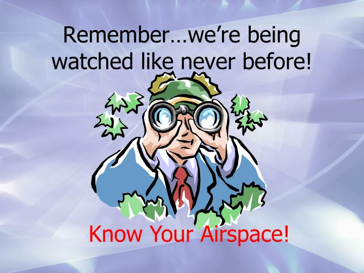 Remember…we're being watched like never before!