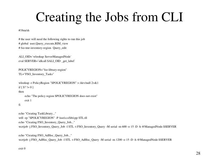 Creating the Jobs from CLI