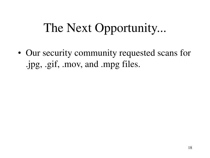 The Next Opportunity...