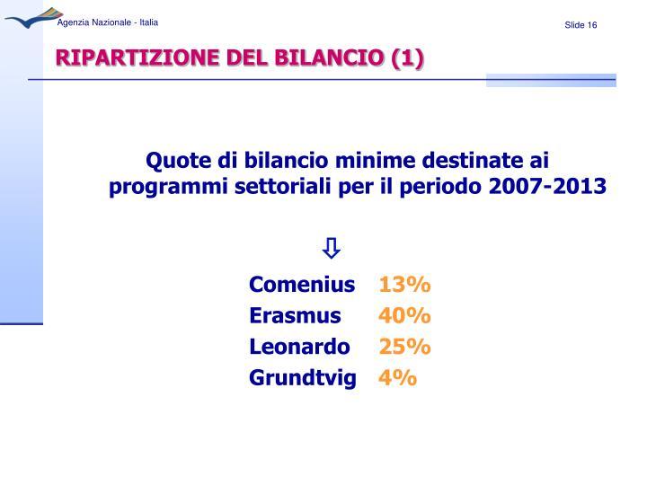 RIPARTIZIONE DEL BILANCIO (1)