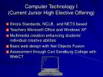 computer technology i current junior high elective offering