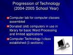 progression of technology 2004 2005 school year