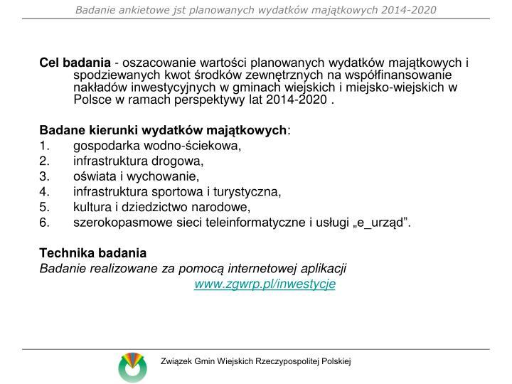 Badanie ankietowe jst planowanych wydatk w maj tkowych 2014 2020
