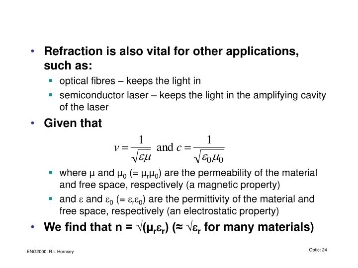 Refraction is also vital for other applications, such as: