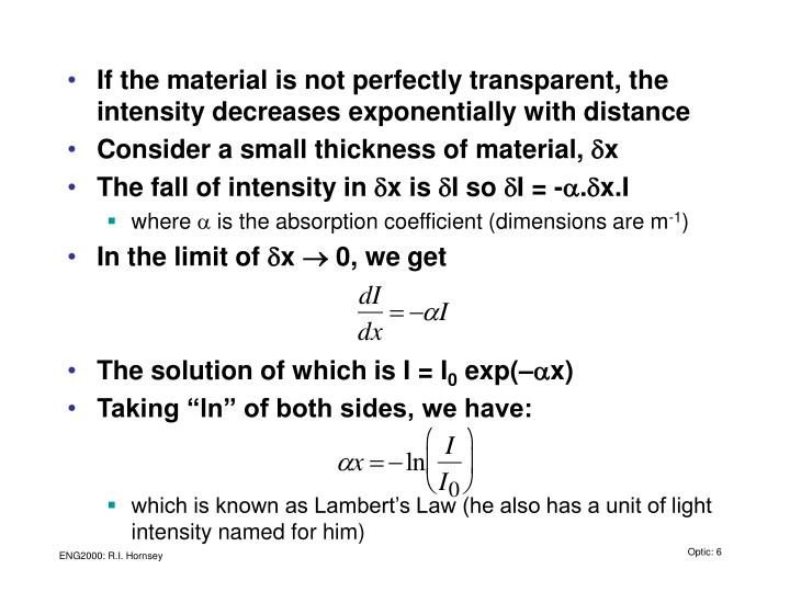 If the material is not perfectly transparent, the intensity decreases exponentially with distance