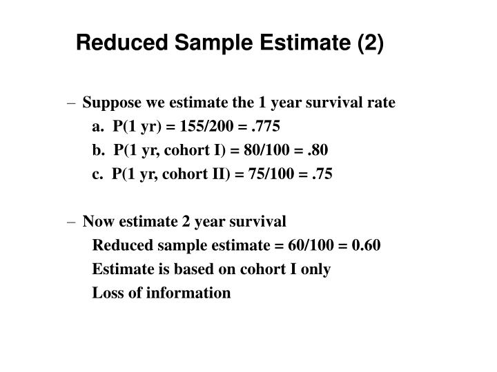 Reduced Sample Estimate (2)