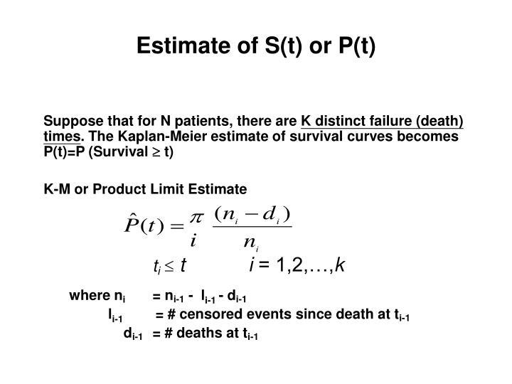 Estimate of S(t) or P(t)