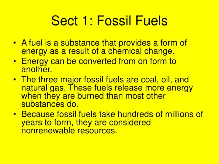 Sect 1: Fossil Fuels