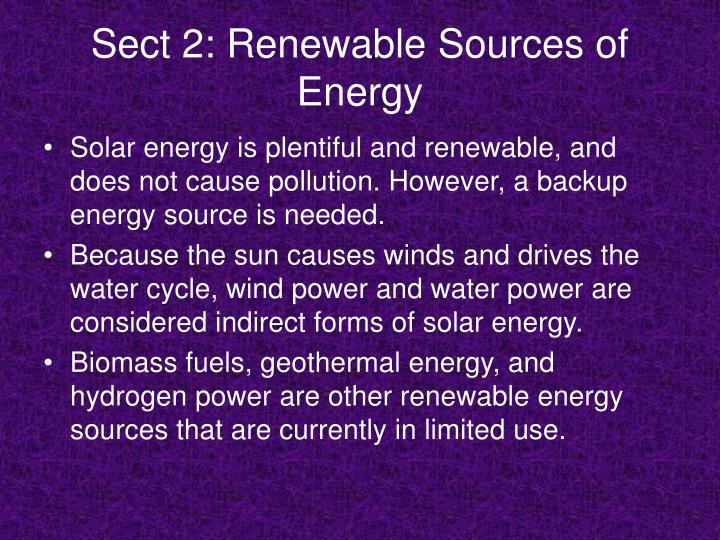 Sect 2: Renewable Sources of Energy
