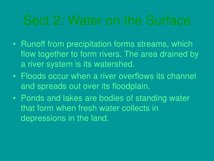Sect 2: Water on the Surface