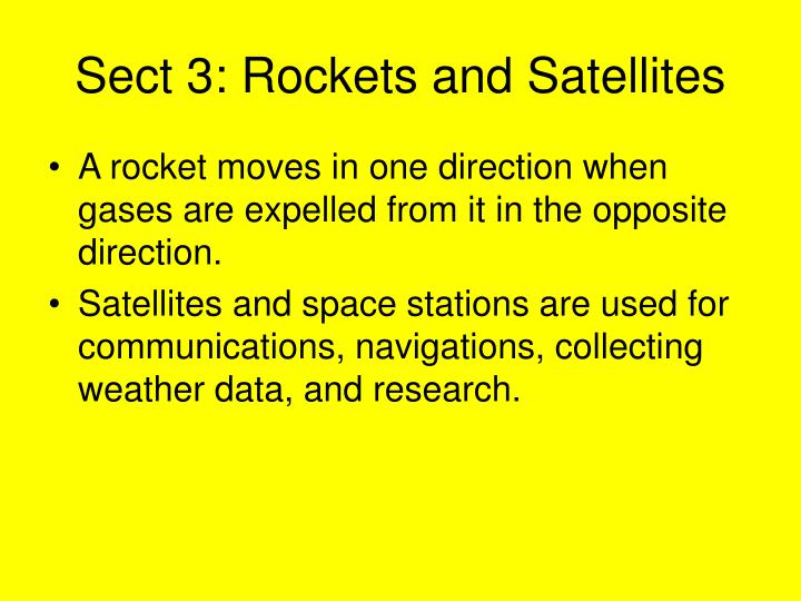Sect 3: Rockets and Satellites