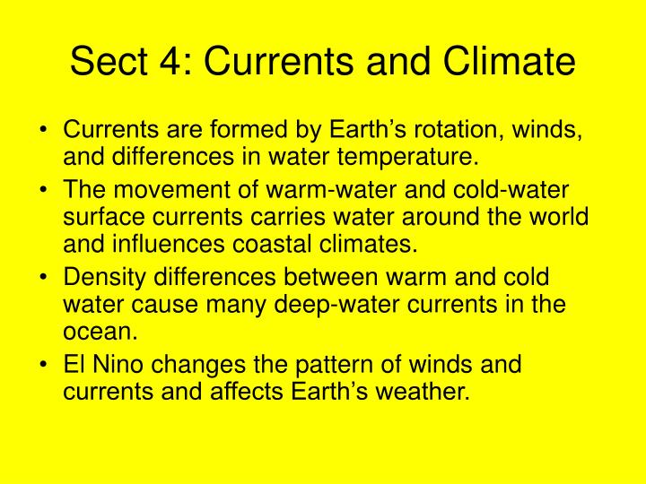 Sect 4: Currents and Climate