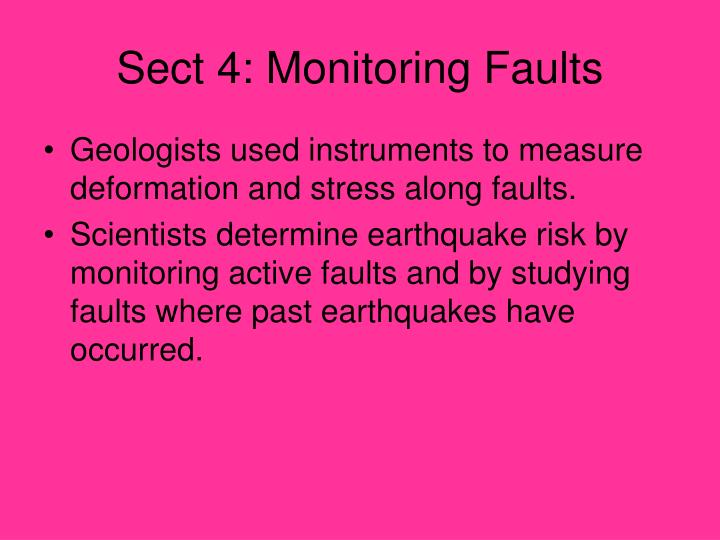 Sect 4: Monitoring Faults