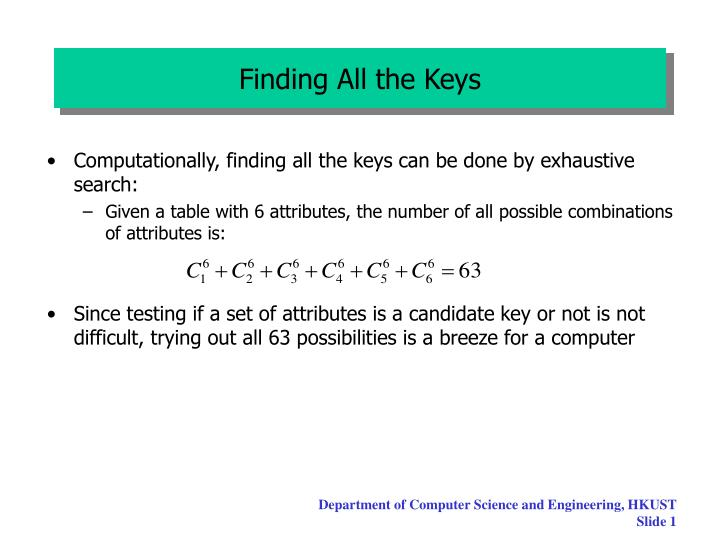 finding all the keys n.