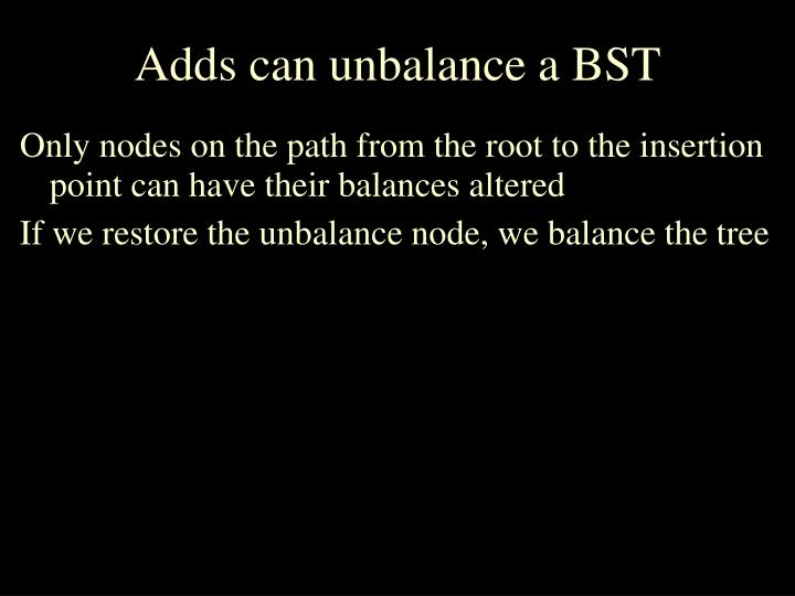 Adds can unbalance a BST