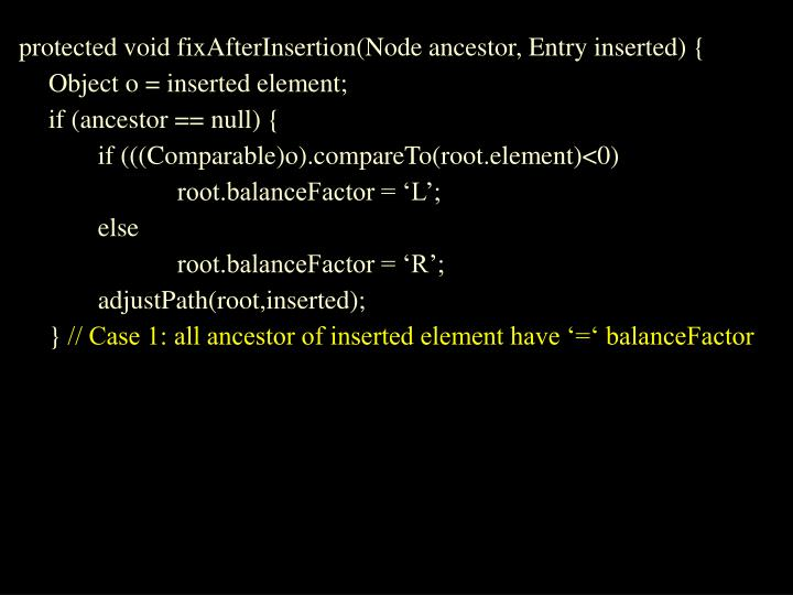 protected void fixAfterInsertion(Node ancestor, Entry inserted) {