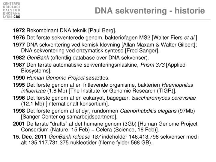 DNA sekventering - historie