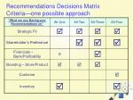 recommendations decisions matrix criteria one possible approach