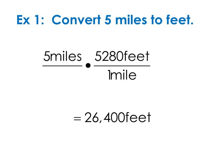 Ex 1:  Convert 5 miles to feet.