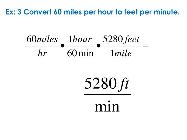 Ex: 3 Convert 60 miles per hour to feet per minute.