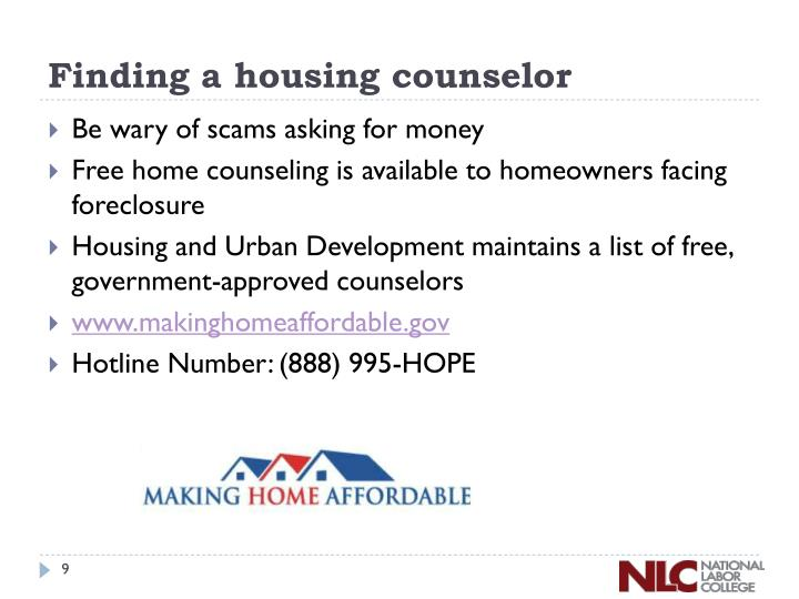 Finding a housing counselor