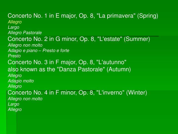 """Concerto No. 1 in E major, Op. 8, """"La primavera"""" (Spring)"""