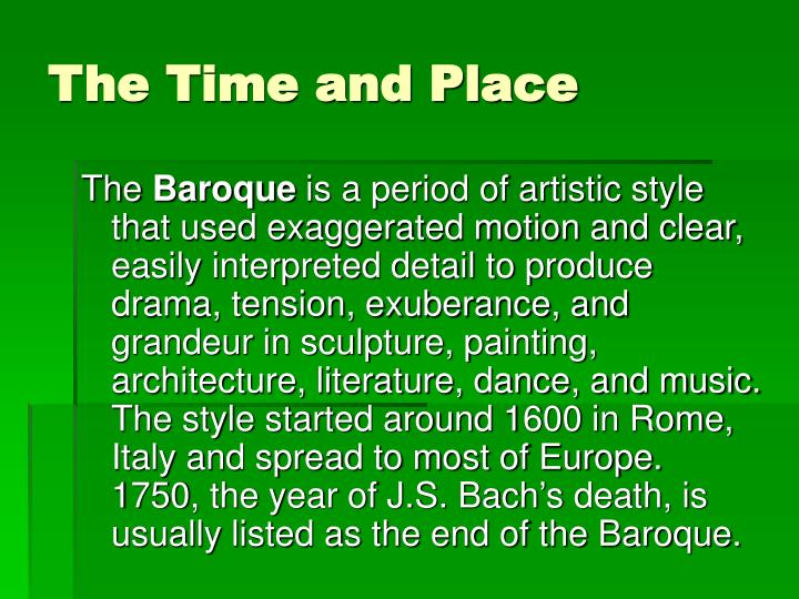 The Time and Place