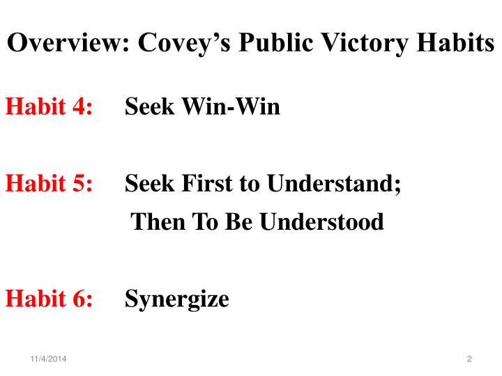 Overview covey s public victory habits