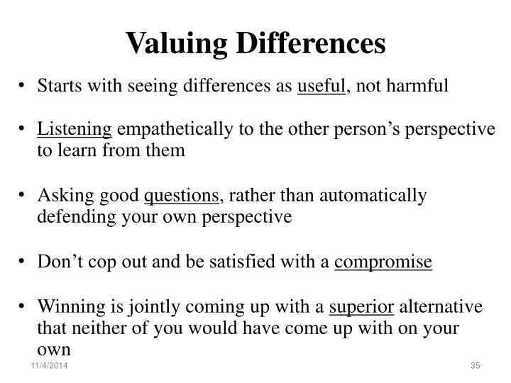 Valuing Differences