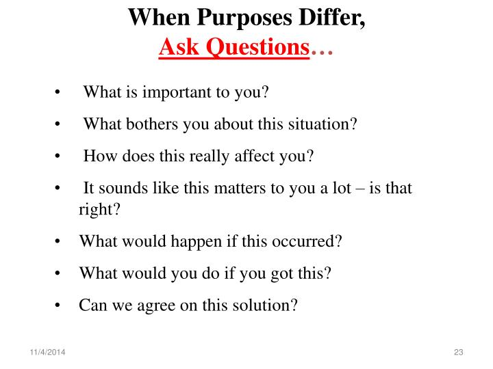 When Purposes Differ,