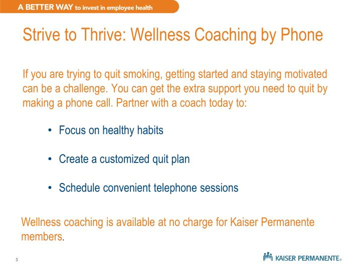 Strive to Thrive: Wellness Coaching by Phone