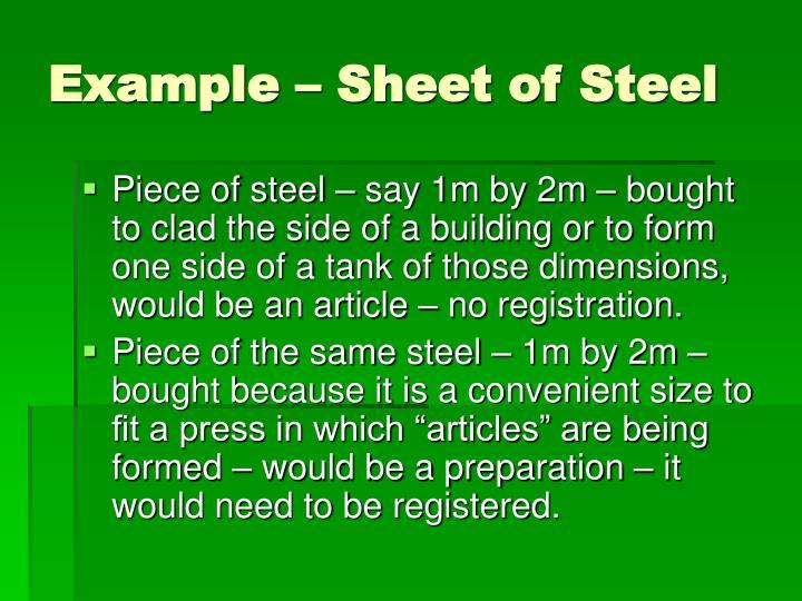 Example – Sheet of Steel
