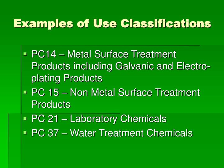 Examples of Use Classifications