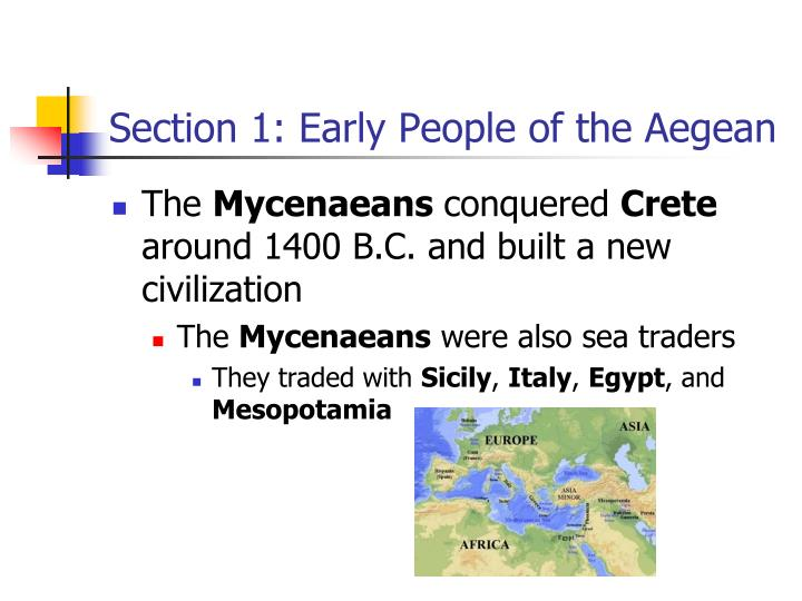 Section 1: Early People of the Aegean
