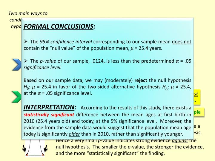 Two main ways to conduct a formal hypothesis test: