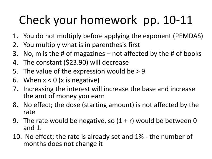 Check your homework  pp. 10-11