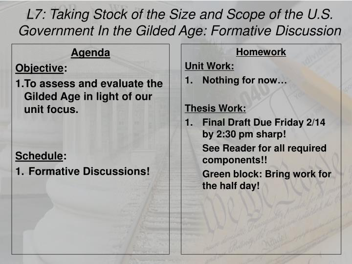 L7: Taking Stock of the Size and Scope of the U.S. Government In the Gilded Age: Formative Discussio...