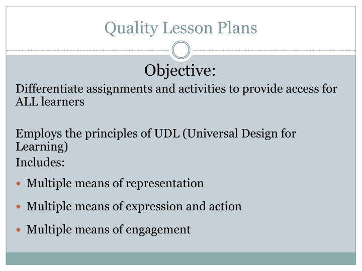 Quality Lesson Plans
