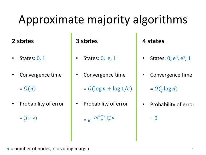 Approximate majority algorithms