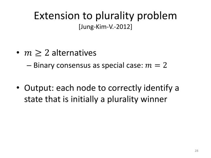 Extension to plurality problem