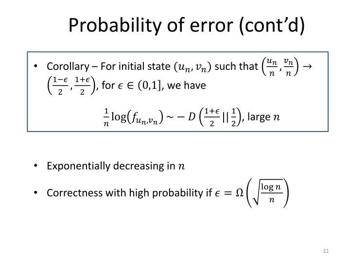 Probability of error (