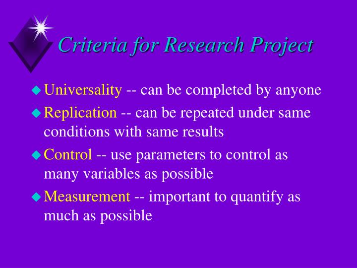 Criteria for Research Project