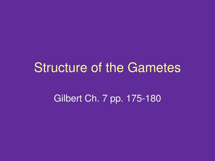 Structure of the gametes